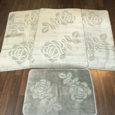 ROMANY GYPSY WASHABLE SETS OF TOURER SIZE 67X110CM MATS/RUGS SILVER-GREY ROSE